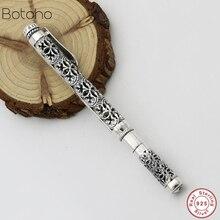 Saf gümüş renk 925 ayar gümüş renk kalem hediye erkekler kadınlar için Vintage oyma ajur iş tükenmez kalem kolye
