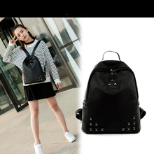 Soft Washed Leather Backpacks Women Rivet Design Fashion Pure Color Leather Mini Backpack Simple School Bags Teenagers Backpack
