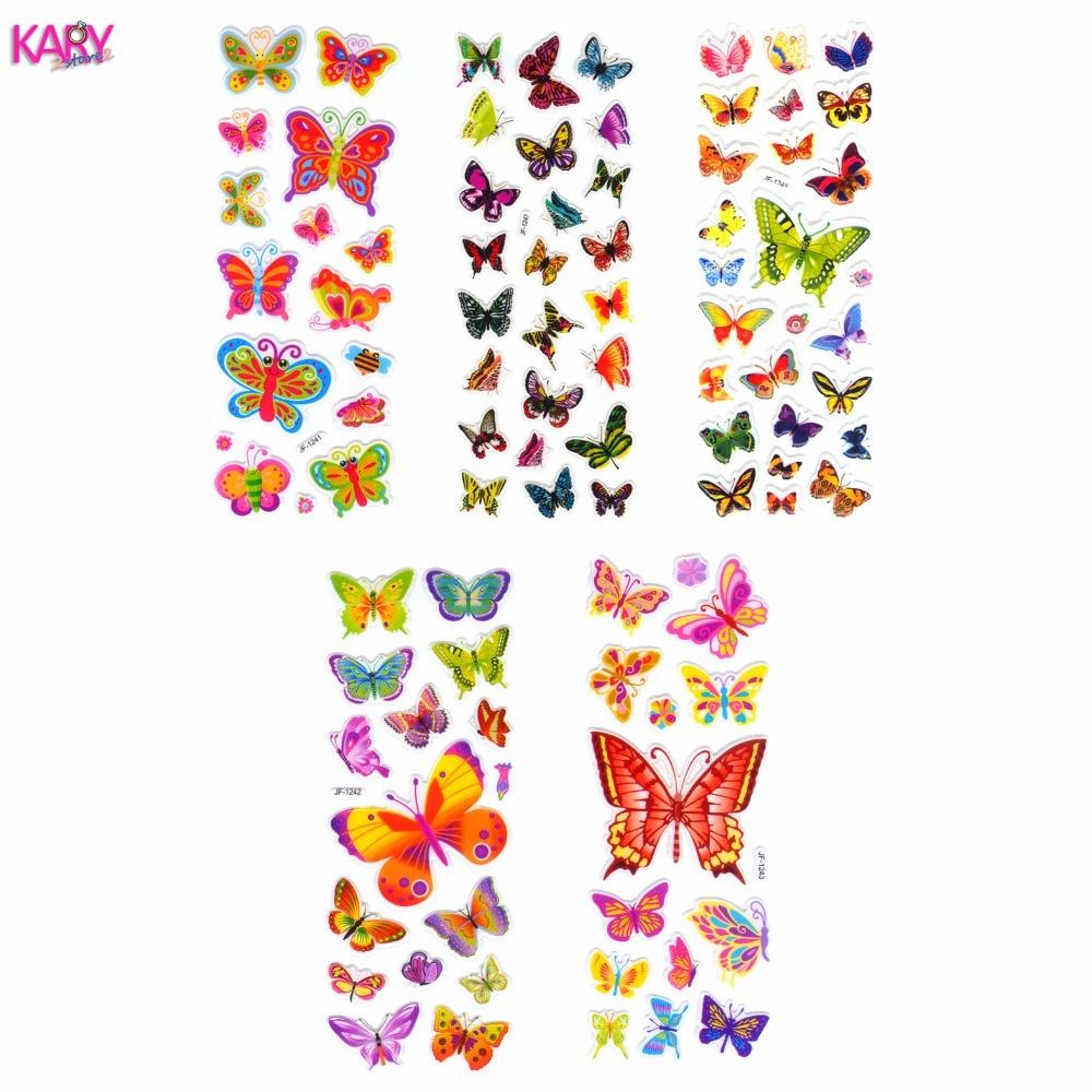 5 Sheets Scrapbooking Kawaii Love Butterflies Gifts Teacher Reward Kids Children Toys Bubble Puffy Stickers Factory Direct Sales