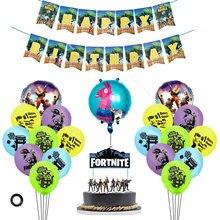 21 Uds Fortnite conjunto de decoración de fiesta de la película de aluminio globo de látex de tarta, Insertar tarjeta bandera inteligencia caballo Alpaca cumpleaños decoración