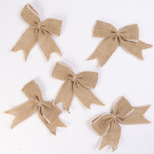 5pcs Linen Lace Bow Natural Jute Yarn Burlap Hessian Lace Ribbon Bowknot Party Wedding Ornament Gift Box Home DIY Decorations