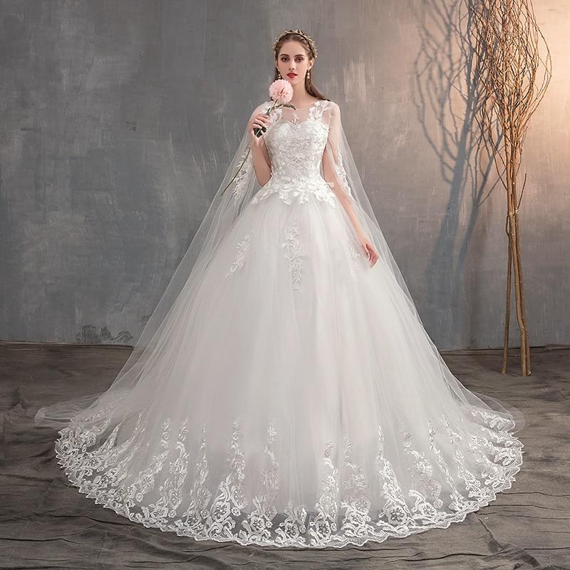 Long Cap Lace Wedding Gown Bridal Dress 2