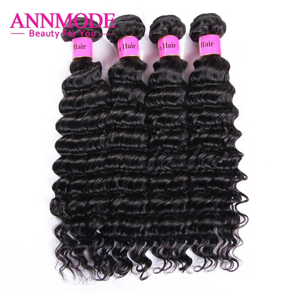 3/4 Bundles Indian Deep Wave Hair Weave Natural Color 100% Human Hair Extensions 8-28inch Non-Remy Hair Bundles Annmode
