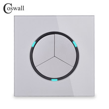 Coswall 3 Gang 1 Cara Acak Klik Push On / Off Saklar Lampu Dinding dengan LED Indikator Tempered Kaca Kristal panel 16A Abu-abu()