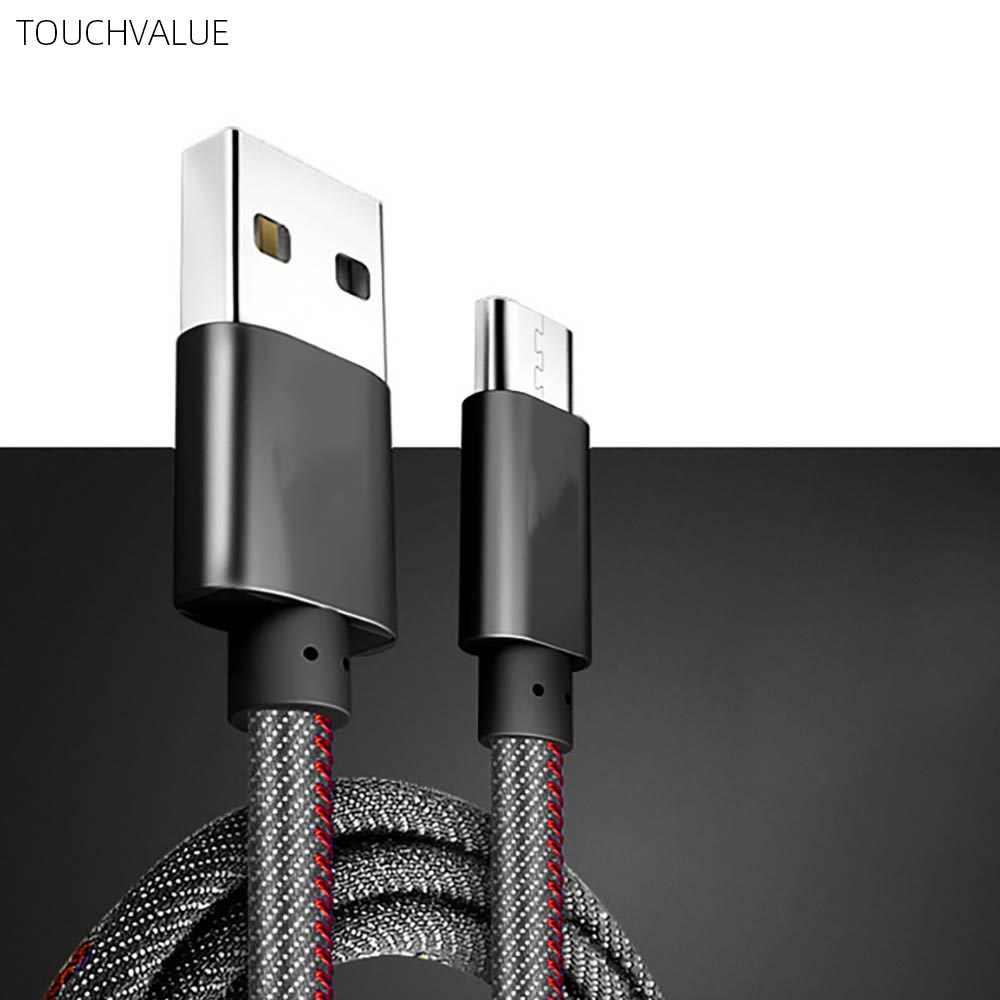 5 ピース/ロットデニムマイクロ USB 充電ケーブル 3A 急速充電ケーブル携帯電話アクセサリーブルー黒 1 メートル 2m