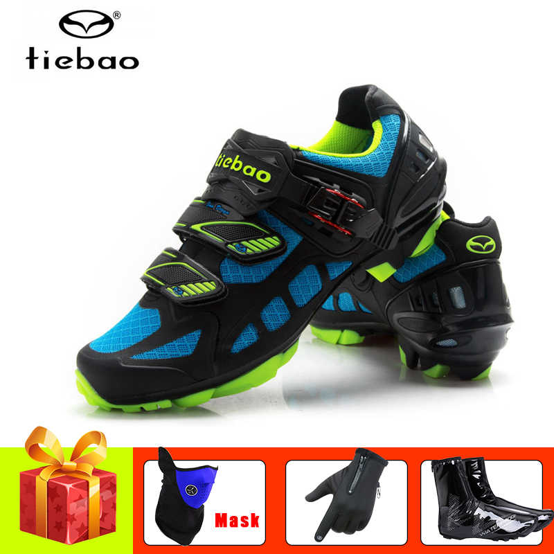 TIEBAO Mountain bike shoes mesh breathable cycling shoes covers superstar bicycle gloves self-locking  Athletic SPD Sneakers