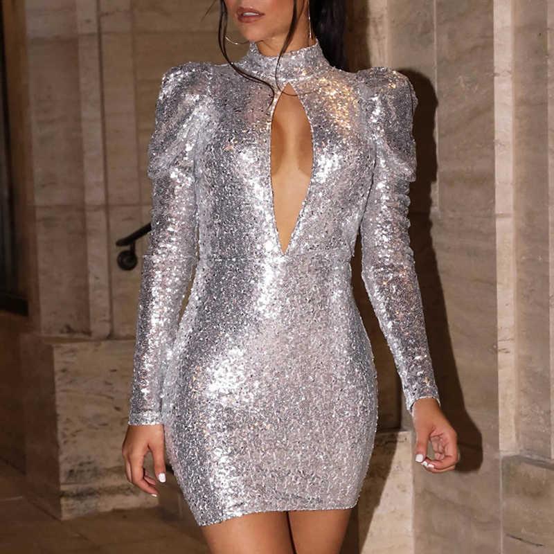 MONERFFI Sexy dos nu or Sequin femmes robe à manches longues moulante Mini fête robe courte paquet hanche gaine Vestidos