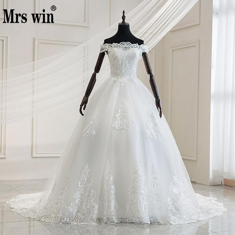Mrs Win 2020 Luxury Lace Embroidery Wedding Dresses Off The Shoulder 100cm Long Train Sweetheart Vestido De Noiva