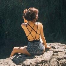 Женский купальник с открытой спиной винтажный треугольным узором