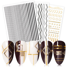 Gold Sliver 3D Nail Sticker Curve Stripe Lines Nails Stickers Gradient Adhesive Striping Tape Nail Foil Nail Art Stickers Decals