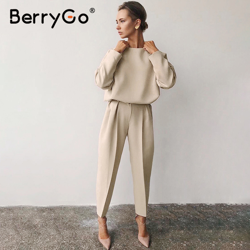 BerryGo Office Ladies Spring Blouse Shirt Women Minimalist Long Sleeve Casual Female Tops Blusas O-neck Loose Summer Tops Shirts