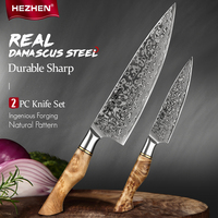 HEZH EN 2PC Kitchen Knife Set Chef Uitility High Carbon Stainless Steel VG Damascus Super Steel 10 Slicing Kitchen knife