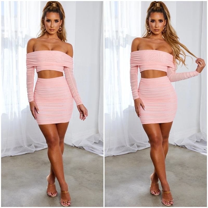 Elegant Pink Off Shoulder Bodycon Woman Dress Sexy Navel Wrap Party Dresses Female Backless Summer Outdoor Casual Lady Dresses