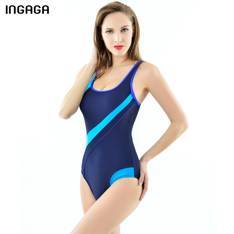 INGAGA 2019 Sport Swimming Suits for Women One Piece Swimsuit Competitive Training Swimwear Splice Race Back Bathing Suits