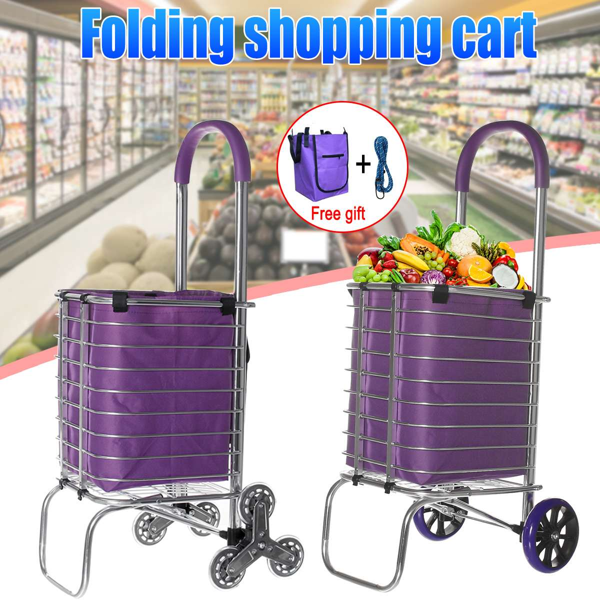 6 Wheel Stair Ladder Shopping Cart Shopping Basket Household Shopping Trolley Trailer Portable Cart Shopping Bag Large