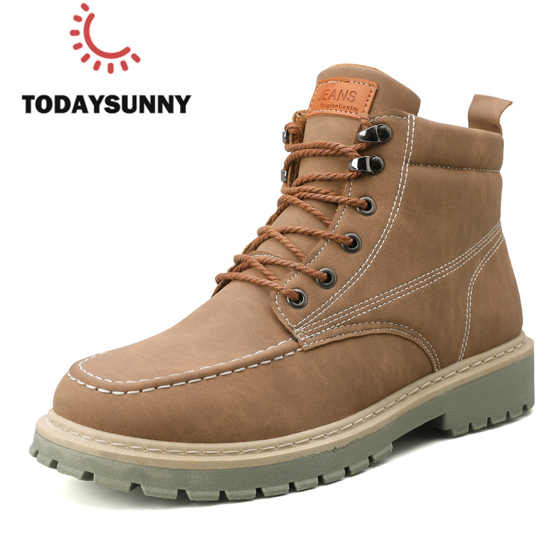 Men Boots PU Leather Boots Male Fahion Work Safety Boots Martens Men Bota Masculina Outdoor Walking Shoes  For Men Ankle Boots