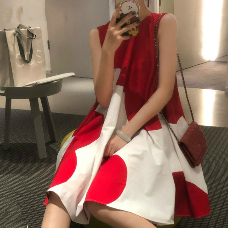 LANMREM 2020 summer fashion women clothes round neck sleeveless red polka dots sweet girl's dress pullover WF80303L