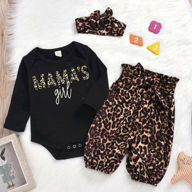 3Pcs Newborn Infant Baby Kids Girls Letter Romper Jumpsuit Leggings Outfits Set