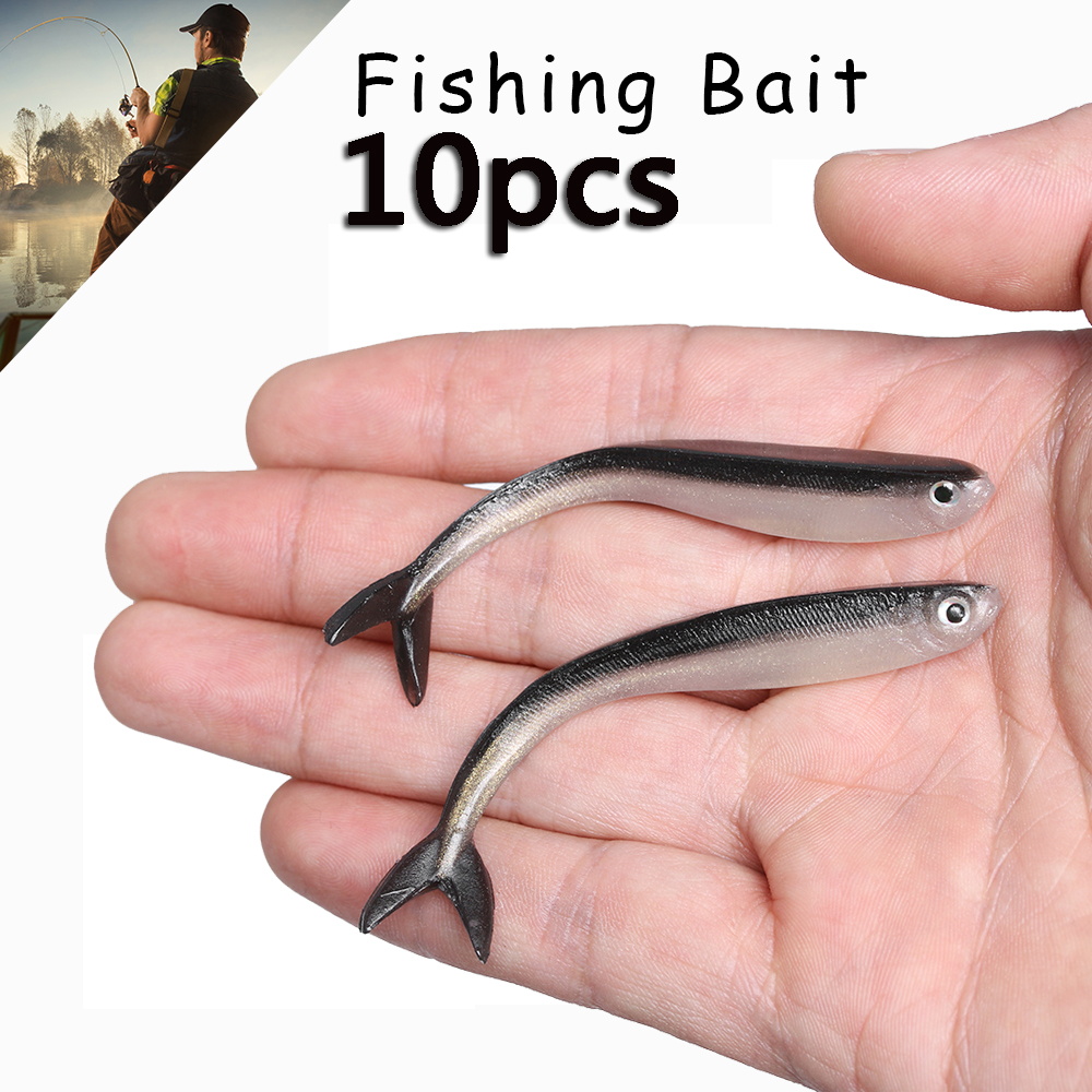 10 Pcs/Bag 8cm/2g Soft Fish Lure Silver  1