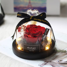 Real Roses In Flask Glass Dome Beauty Beast Eternal Preserved Rose Valentines Day Gift Girlfriend Birthday
