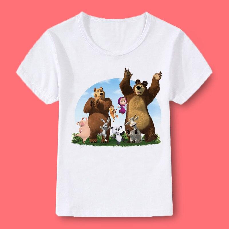 Girl T-shirt Children T-shirt Masha And Bear Print Summer O-neck Short-sleeved Clothes Cute Girl Tops Girls T-shirt Kids Clothes