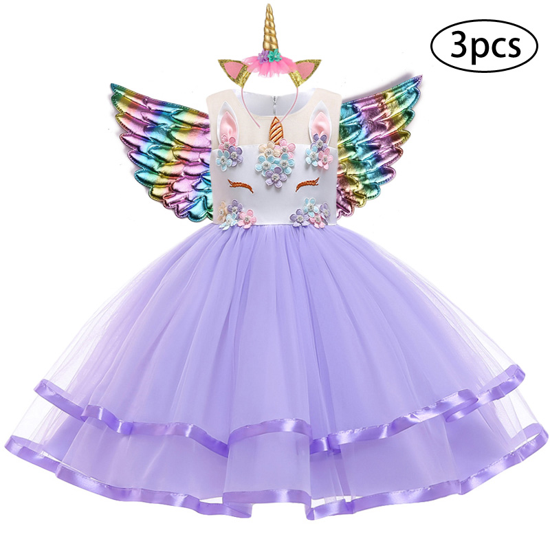 H1440d63660994fa382cadd49c36c90b6V New Girls Dress 3Pcs Kids Dresses For Girl Unicorn Party Dress Christmas Carnival Costume Child Princess Dress 3 5 6 8 9 10 Year