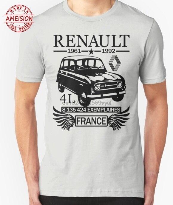Plain 100% Cotton O-neck Custom Printed T-shirt Classic Car Renault 4L Tshirts Cotton Casual Broadcloth