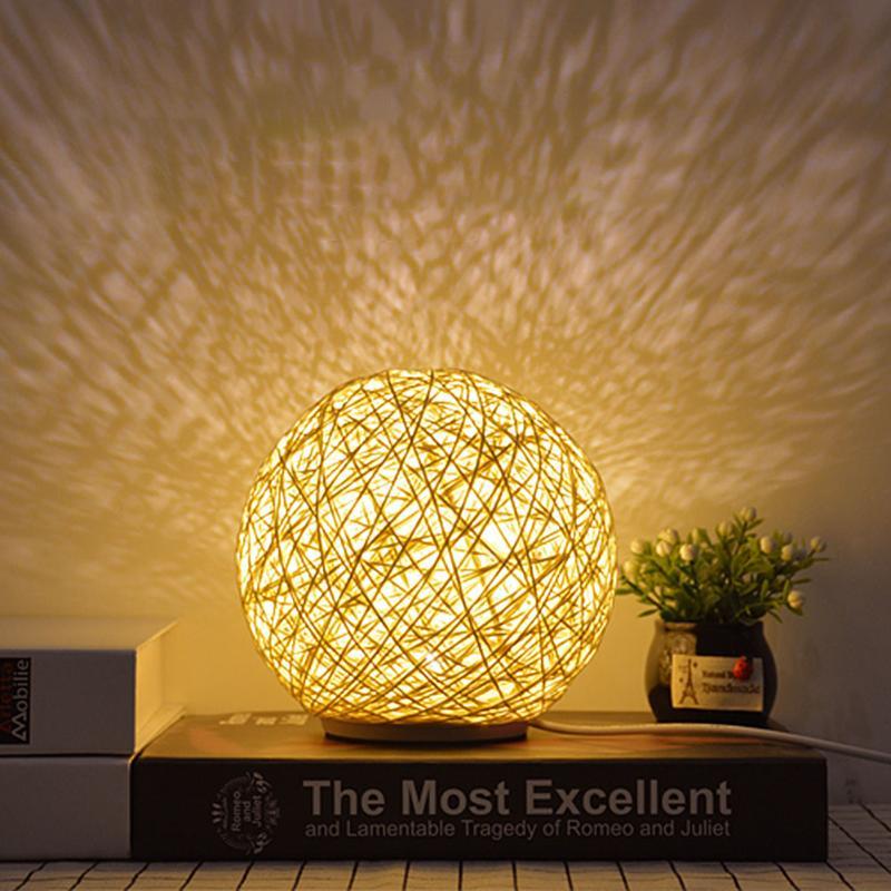 LED Desktop Night Lamp Beige Sepaktakraw Lampshade USB US Plug 3 Colors Living Room Bedroom Bedside Decorative Lights