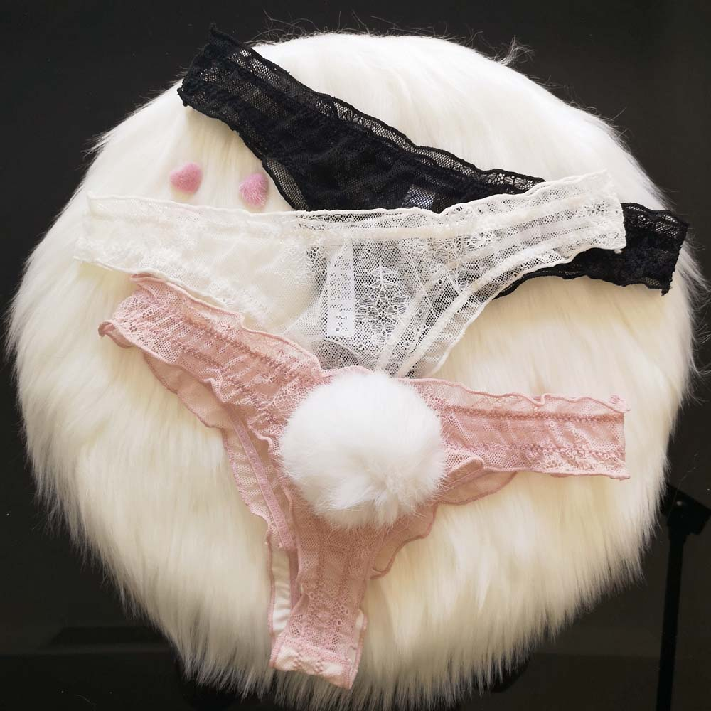 Cute Rabbit Tail Sexy Lace Panties Women Breathable Transparent Seamless Underwear G string Thong Sexy Lingerie|Panties| - AliExpress