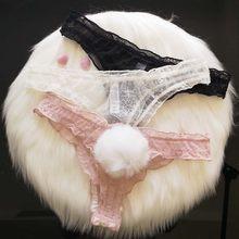 Sevimli tavşan kuyruk seksi dantel külot kadınlar nefes şeffaf dikişsiz iç çamaşırı G-string tanga seksi iç çamaşırı