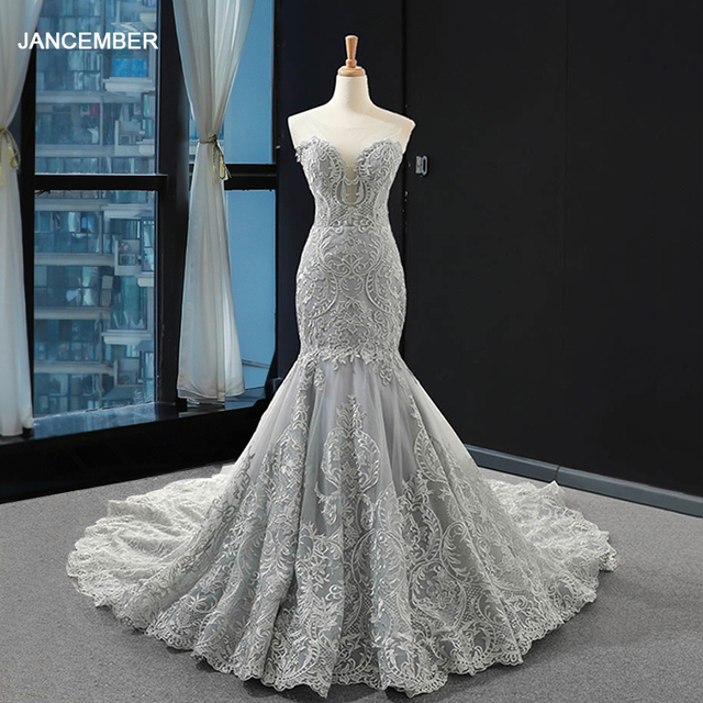 J66594 jancember luxury wedding dress mermaid shawl yarn beading sequined ruffles weeding dresses for bride vestido de noiva 2