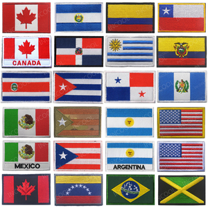 America Country Dominica Uruguay Ecuador Costa Rica Cuba Panama Guatemala Colombia Embroidered Patches Badges Flags Wholesale(China)