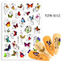 3D Stickers for Nails Self-adhesive Line Girl Woman Face Nail Art Decorations Butterfly
