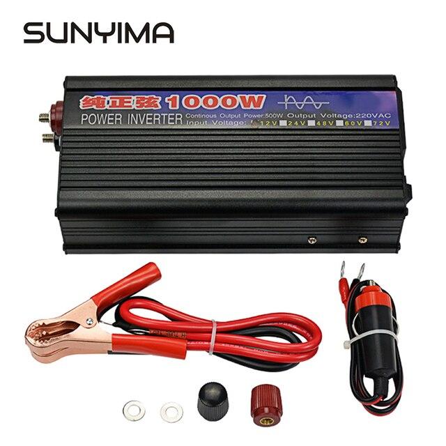 Sunyima 1000w onda senoidal pura inversor, dc12v/24v para ac220v 50hz conversor de energia impulsionador para o carro inversor doméstico, faça você mesmo