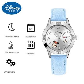 Disney MINNIE DAISY Duck WINNIE POOH PLUTO ELSA STITCH Children Girl Wristwatch Student Watches Calendar Luminous Quartz Clocks