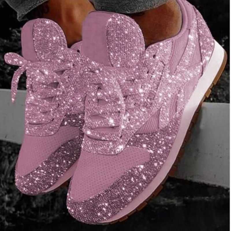 Women Shoes Spring New Bling Sparkly Casual Flat Shoes Woman Vulcanized Shoes Breathable Lace-up Outdoor Fashion Sneakers Women