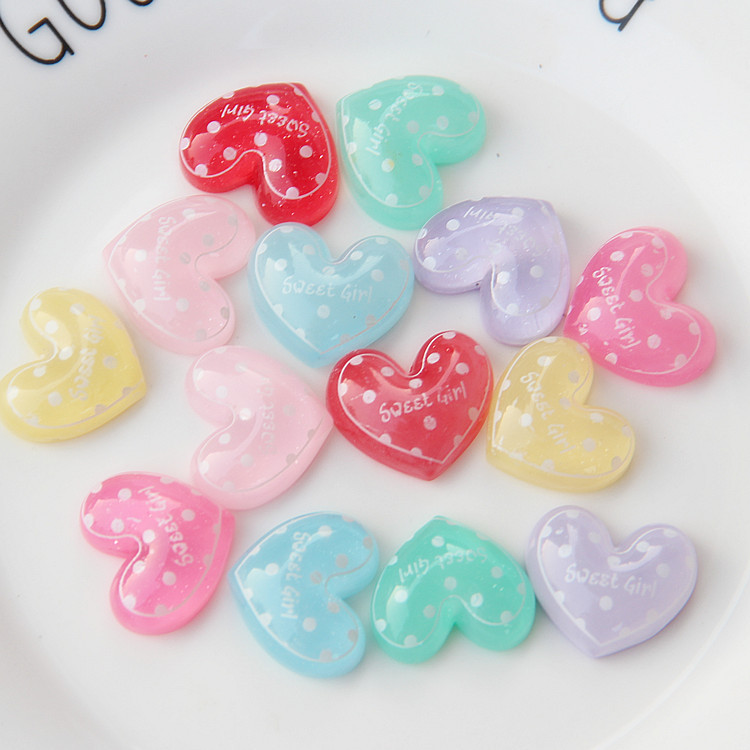 20Pcs/lot Transparent Glitter Resin Heart Flatback Cabochon DIY Scrapbooking Flat Back Resin Cabochons For Hair Bows Accessories