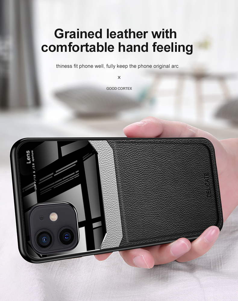 PU Leather Glass Back Cover Shockproof Case for iPhone 12 Pro