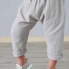 Ankle-Length-Pants Pleated Linen Baby-Boys Kids Children Summer New Solid for Harem-Pants