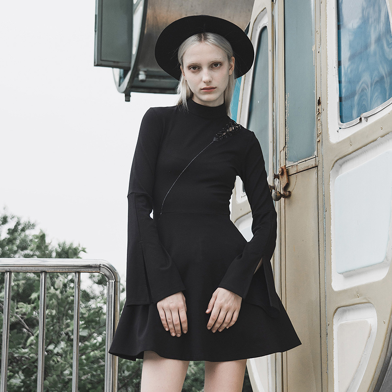 PUNK RAVE New Arrival Girl's Turtleneck Asymmetry Punk Dress Personality Slim Black Split Gothic Daily Knit Dress