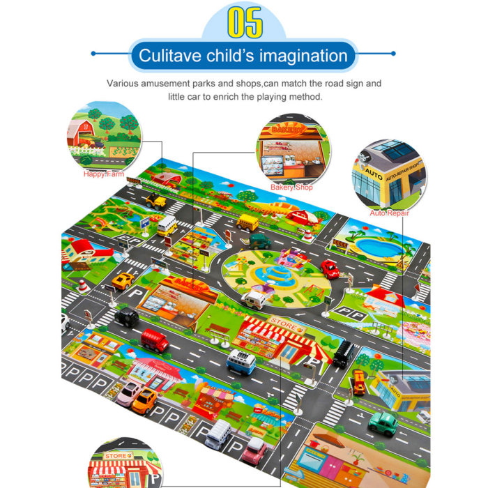 H14416681fdf94b649b08e2221a94be3dB Hot Selling 130*100cm Children Play Mats House Traffic Road Signs Car Model Parking City Scene Map