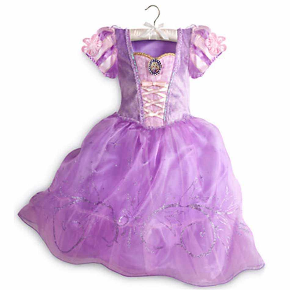 Şık kızlar prensesler elbise kar kraliçe Anna Belle kar beyaz uyku güzellik kostüm çocuklar fantezi Unicorn Evil kraliçe Minnie