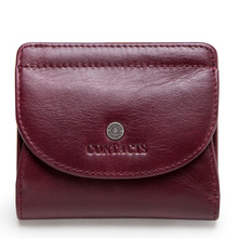 Women's Purse Genuine Cow Leather Wallets Multi-function Sma
