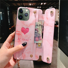Pink Love Heart Leather Wallet Phone Case For iPhon