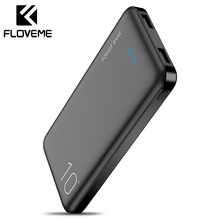 FLOVEME 10000mAh Power Bank Powerbank External Battery Pack Portable Charger Mi Poverbank For iPhone Xiaomi
