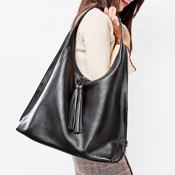 Zency 100% Genuine Leather Fashion Women Shoulder Bag Daily Casual Shopping Hobos Classic Black Tote Handbag Crossbody Bags