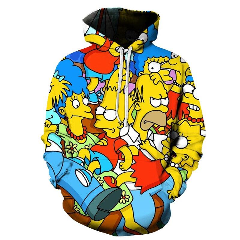 Cartoon Anime Simpson Printed Men Women 3D Hoodies Sweatshirts Print Hrarjuku Long-sleeved Casual Tops Clothing New Style Coat
