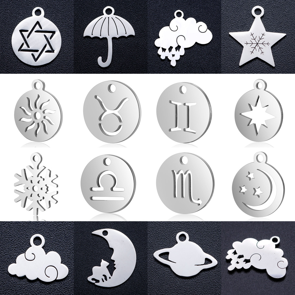 10pcs/lot diy zodiac sign sun stainless steel charm pendant wholesale star cloud moon cat jewelry bracelet connector charms