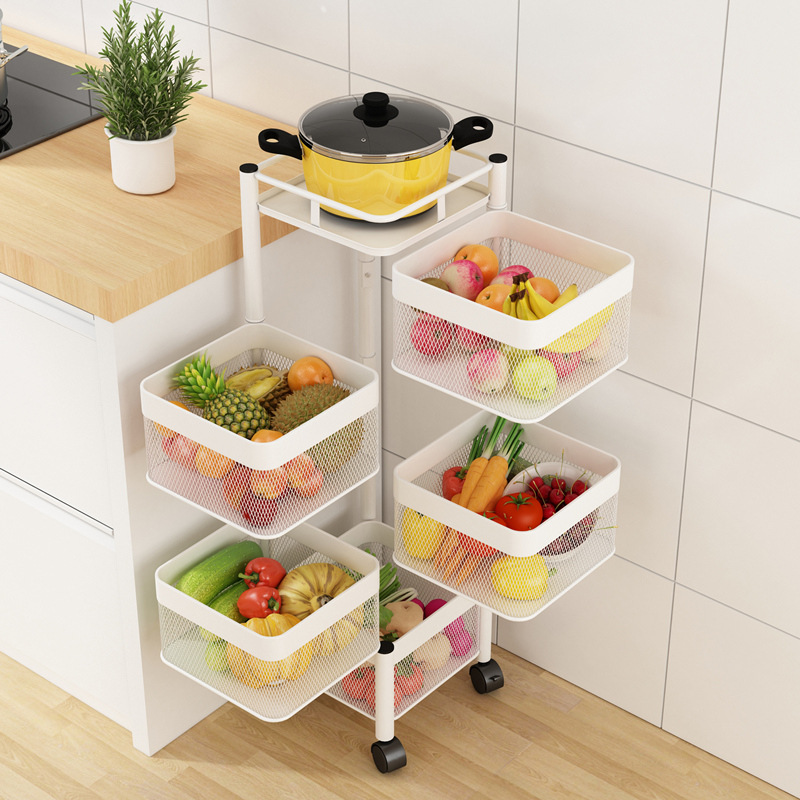 Kitchen Revolving Vegetable Shelf Storage Multi-Layer Water Fruit Basket Kitchen Items Save Space Kitchen Holder