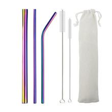 6Pcs/set Mildewproof Drinking Straw Set Resuable Stainless Steel Metal Smoothies With Brush Kitchen Tableware